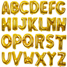 QGQYGAVJ 16 inch Yellow A-Z letter a lot of aluminum balloon birthday festival wedding decoration toy balloon wholesale(China)