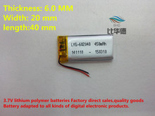 (free shipping) 602040 450mah lithium-ion polymer battery quality goods quality of CE FCC ROHS certification authority