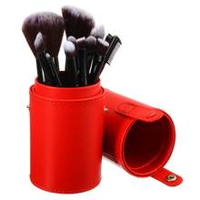 1pcs Empty Portable Round Makeup Brush Pen Holder Cosmetic Tool PU Leather Cup Container Pink Red Solid Colors 4 Optional Case(China)
