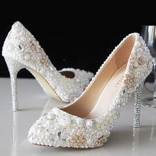White Pearl shoes crystal wedding dresses bridal shoes diamond heels high heels big size stage princess shoes(China)