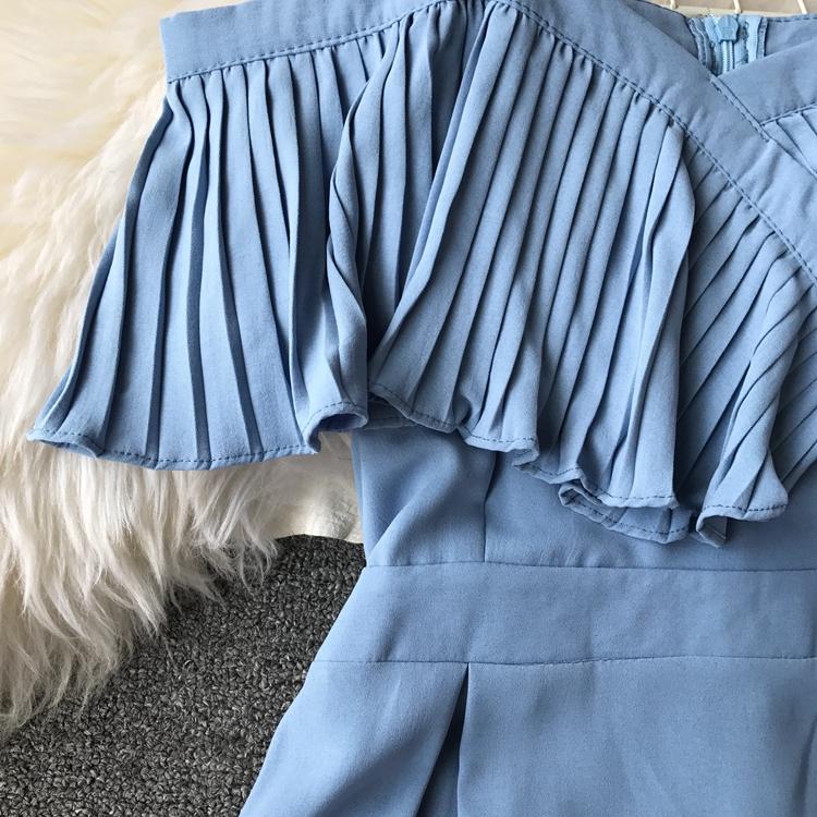 2019 Spring Women Chiffon Pleated Braces Sling Spaghetti Strap Goffer Long Dress Ladies Ruffles Empire Drapped Swing Slip Dress 186