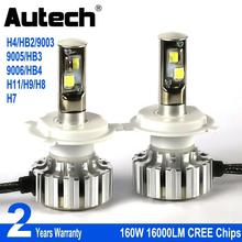 Autech H4 LED Headlight bulbs 160W 16000LM HB2 9003 9005 9006 HB3 HB4 H7 H11 H9 H8 Car Headlamp Bulb Head Lights with CREE Chips(China)