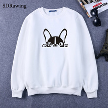 SDRawing Boston Terrier Dog Print Women Sweatshirts Cotton Casual Funny Sweatshirts For Girl Top Sweatshirts Hipster Tumblr Drop(China)