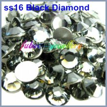 Free Shipping! 1440pcs/Lot, ss16 (3.8-4.0mm) Black Diamond Flat Back Nail Art Glue On Non Hot Fix Rhinestones