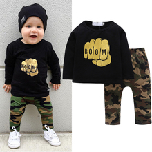 Autumn Boys Clothes Baby Sports Suit Casual Long Sleeve Gold Printed T-shirt+ Camouflage Pants Toddler Kids 2PCS Clothing Set(China)