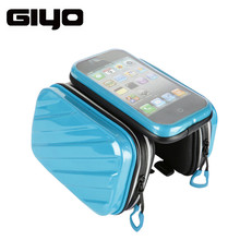 GIYO Bicycle Frame Front Head Top Tube Bag Dual IPouch Pannier Cycle For 4.7 5.5 inch Touch Screen Smart Smartphone Bike Bag G-1