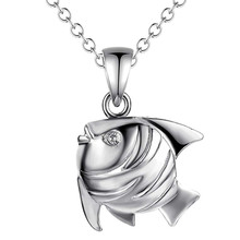 Hot silver fish pendant necklace for boys cool Children's Day gift fashion jewelry top quality factory cheap