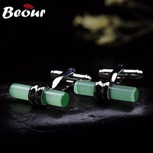 High quality cufflinks for men shirts wholesale cufflinks brand Dazzling Green Onyx Cufflinks For Men 0016 Free shipping