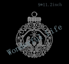 Free shipping Large Nativity Ornament Iron on HotFix Rhinestone Bling Holiday Heat Transfer Applique