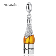 New 925 Sterling Silver Charms Beads Beer Bottle Pendants Crystal Glaze Beads Fit Pandora Bracelets For Women DIY Gift Jewelry(China)