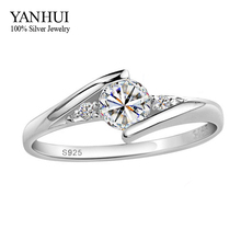 Have Certificates Guarantee!!! 100% 925 Solid Silver 1 Carat CZ Diamant Wedding Rings For Women RING SIZE 4 5 6 7 8 9 10 YR054(China)