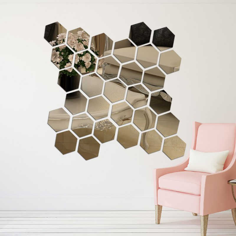 Urijk Hot SALE 12Pcs/Set 3D Hexagon Acrylic Mirror Wall Stickers DIY Art Wall Stickers Living Room Mirrored Decorative Stickers