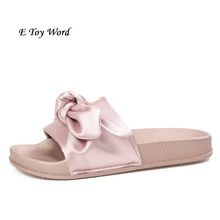 Lotus Jolly Silk Bow Slides Women Summer Slides Pink Silk Bow Slippers Flat Heel Flip Flops Female Ladies Sandals Rihanna Style(China)