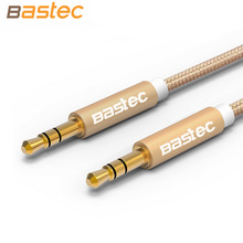 Bastec 1M Aluminum Alloy Gold Plated Plug 3.5mm Aux Cable Male to Male Audio Cable for Car iPhone MP3 / MP4 Headphone Speaker