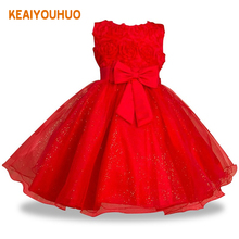Flower Girls dresses for New Year clothes Party Baby Girls Sleeveless Big Bow Princess Wedding Dress Children Party Vestidos(China)