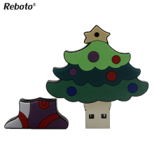 100% real capacity USB Flash drive 32GB 64GB Pen Drive 4GB 8GB 16GB Memory Stick pendrive cartoon Christmas tree Mini Gifts