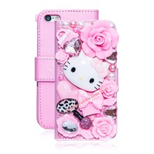 Cute 3D Bling Crystal Hello Kitty Flip Wallet Leather Case For iphone 7 7plus 6 6S 6 plus 6s plus For iphone5 5S 5C Phone Cases(China)