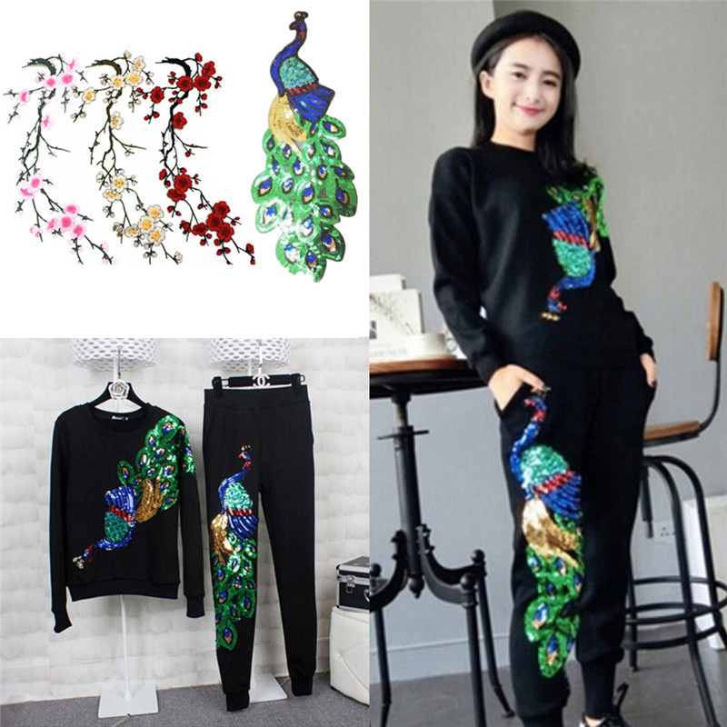 Embroidered Plum Blossom Flower Applique Clothing Embroidery Patch Big Peacock Fabric Sticker Iron On Sew On Patch Craft