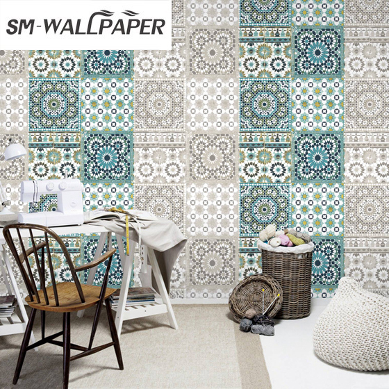 New Damask Geometric Colorful Wallpaper Embossed Flower PVC Vinyl Wall Stickers Country Style for Living Room Background Decor<br>