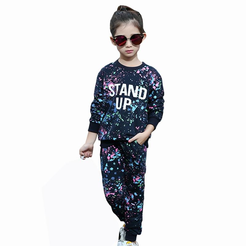 Fashion Scrawl Teen Childrens Sets 2017 New 2 pcs T-shirt &amp; Pants Girls Girl Clothing Sets Kawaii Teens Baby Girls Sports Sets<br>