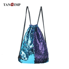 TANGIMP Mermaid Sequin Backpacks Glittering Shoulder Bling Bags Reversible Glitter Drawstring Backpacks Women Beach PE Bags(China)