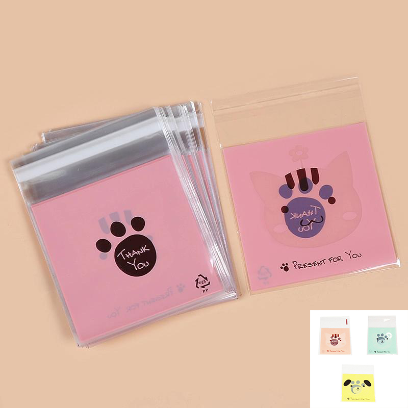 100pcs Self Adhesive Dog Bear Plastic Cookie Candy Package Cellophane Gift Bags