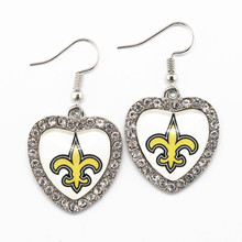 New Style 6pairs/lot New Orleans Saint Football Sports Team Crystal Heart Earrings For Women Fashion Earrings Charms Jewelry(China)