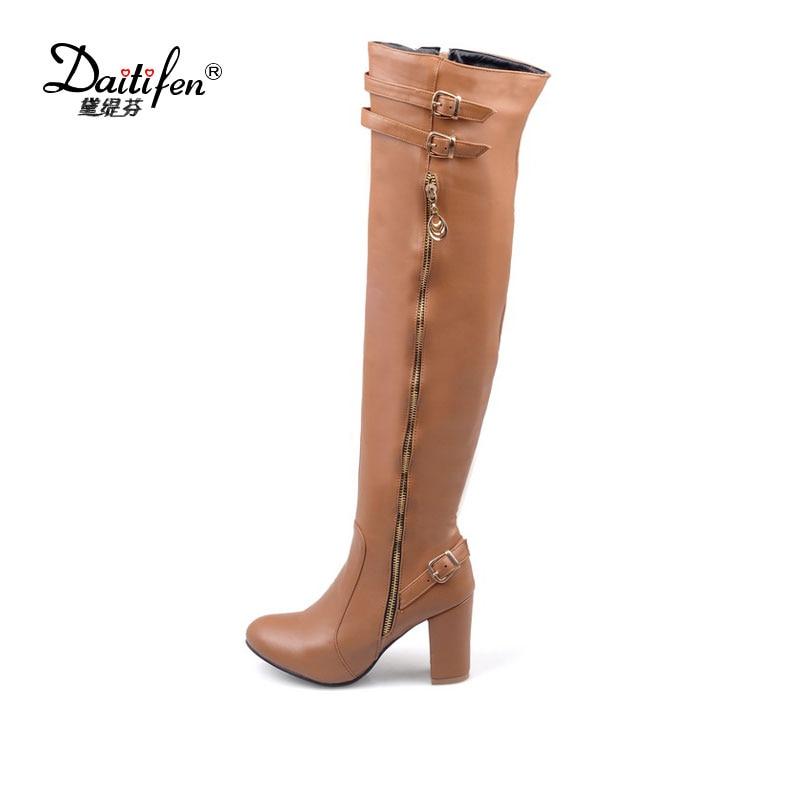 Daitifen 2017 Women Platform Square High Heel Over Knee Boots Stylish Buckle Style Botas Feminine Brand New Knight Shoes Size 45<br>