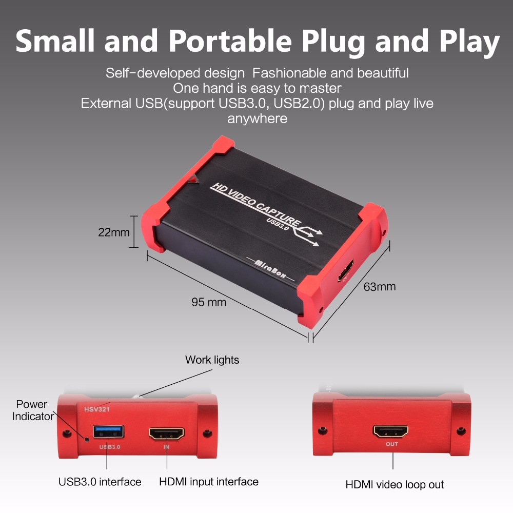 MiraBox HDMI Game Capture Card for Youtube Live Streaming USB 3.0 HD Video Youtube Capture Device for PS3 PS4 XBox 360 (4)