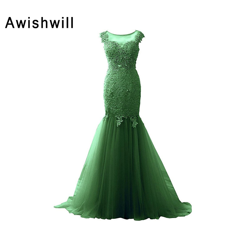 See Through Back Long Mermaid Formal Evening Dresses 2019 Robe de Soiree Cap Sleeve Lace Tulle Green Prom Dress Party Gowns
