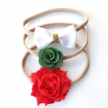 3pcs/set Flower bow headband skinny soft nylon headband chiffon flower headband newborn photo props accessories(China)