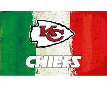 3x5ft Green white red Stripes Kansas City Chiefs flag new style oil painting style flag with 2 Metal Grommets 90x150cm(China)