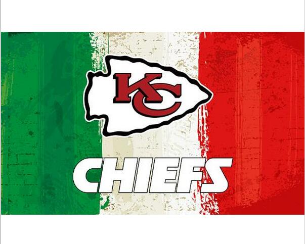 3x5ft Green white red Stripes Kansas City Chiefs flag new style oil painting style flag with 2 Metal Grommets 90x150cm(China (Mainland))