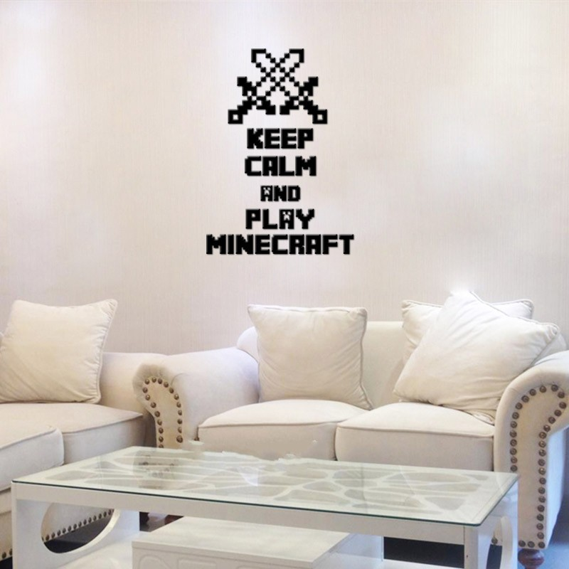 HTB1v9NlevBNTKJjy0Fdq6APpVXa5 - Newest Minecraft Wall Stickers 3D Wallpapers Kids Room Decals Minecraft Steve Home Decoration Popular Games Home Free Shipping
