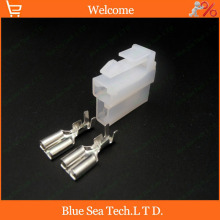 Sample,5pcs 2Pin 6.3mm civic fuel pump connector plug,6.3mm Auto electrical connector for Honda etc.(China)