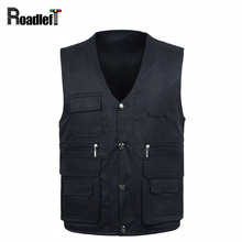 Plus 4XL,Male multi pocket vest Men's cotton army sleeveless jacket waistcoat Men reporter vest