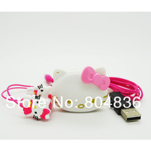 1 pcs/lot The Newest Mini Fashion Hello Kitty Shaped Card Reader MP3 Music Player With Hello Kitty Earphone&Mini USB