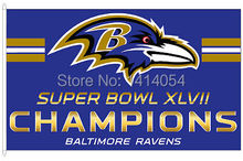 Baltimore Ravens Super Bowl XLVII 47 Champs 150X90CM Banner 100D Polyester3x5 FT flag brass grommets 001, free shipping(China)
