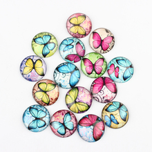 50Pcs Pretty Rainbow Butterfly Photo Glass Cabochons 25mm Handmade Round Image Glass Dome Jewelry