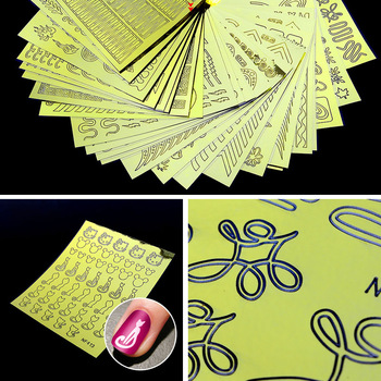 24 Sheets Gold Nail Vinyls Sticker Nail Art Hollow Decals Stencils Guide New DIY Adhesive Glue Nails Art Accessories