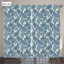 Curtains Print Living Room Blue Asian Indian Retro Pattern Paisley Modern Home Decor Collection Bedroom 2 Panels Set 145*265 sm