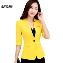 SEYAM Ladies Black Blazer Jacket Spring Single Button Half Sleeve Slim Fit Office Feminino Suit Blazer ow0259