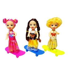 2pcs Kids Baby skateboard Mini Toy for Barbie Doll Girls Birthday Gifts Accessories Fits for 10cm Kelly Dolls(China)