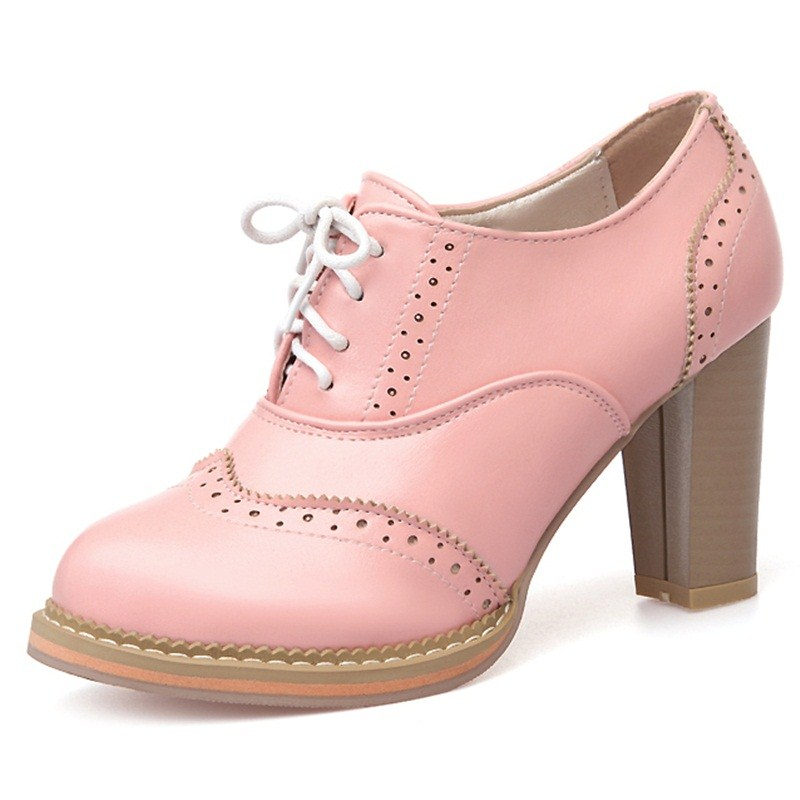 The New Summer Spring Lace-Up Women Pumps round toe High-Heeled Women Shoes beige pink white color Soft Leather shoes woman<br>