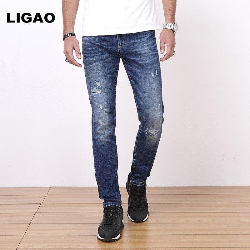 Mens Jeans Trousers Breathable Lightweight High Elastic Slim Pencil Pants Cropped Scratched Ripped Hole Men JeansÎäåæäà è àêñåññóàðû<br><br>