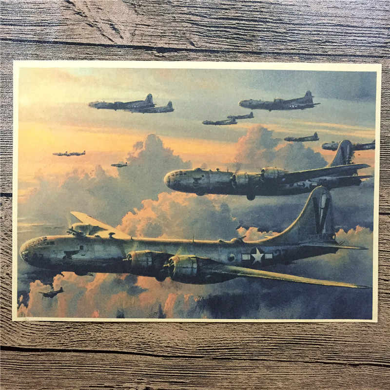 Military air combat aircraft Living Room paint vintage poster Vintage Kraft Paper Retro Wall Art Craft Sticker 42x30cm ZIP-0045
