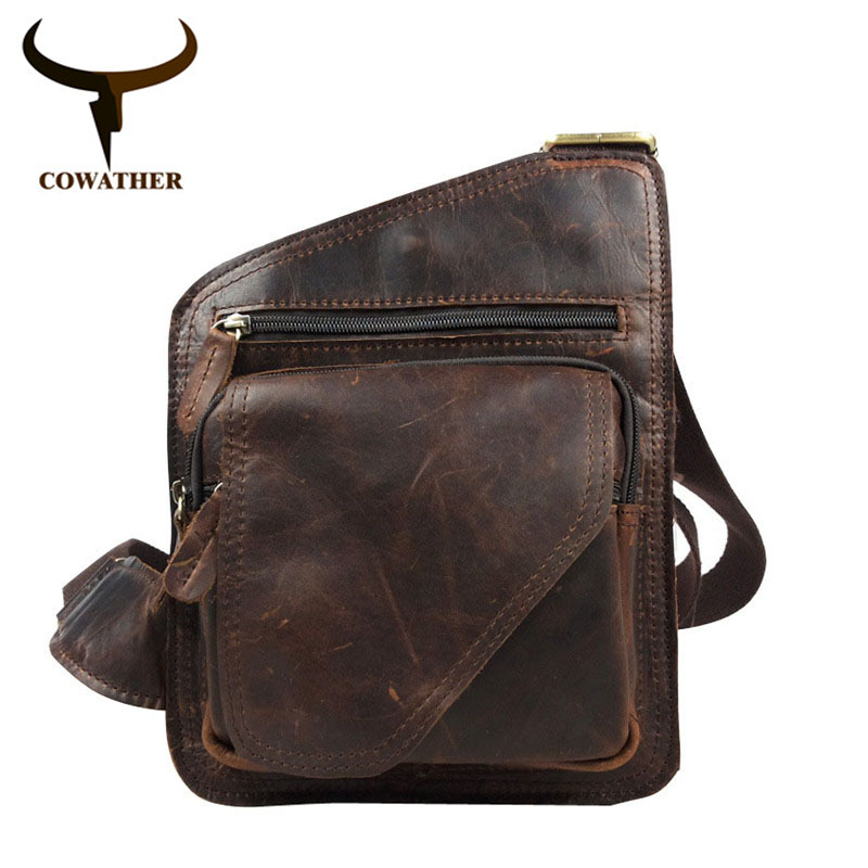 COWATHER 2017 top cow genuine leather versatile casual shoulder men messenger bags for men soild and zipper <br>