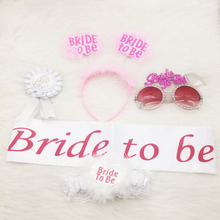 Bridal Bachelorette Party Favors Set of 5 Bride Sunglasses Bride to be Sash Badge Hair Clasp Ribbon Garters Hen Party Supplies(China)
