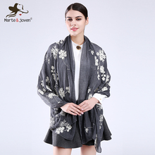 [Marte&Joven] Vintage Style Flower Embroidered Women Scarfs Oversized Long Cotton Blends Casual Retro Shawls and Scarves Ladies(China)