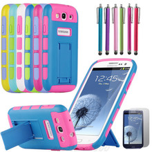 Hybrid Impact Dual Kickstand Silicone Cover Case  For Samsung Galaxy S3 i9300 Case Cover Stylus Pen and Screen Protective Film